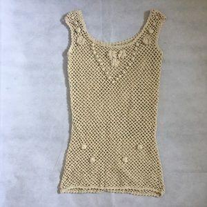 Guess Ivory Crochet Tank Top